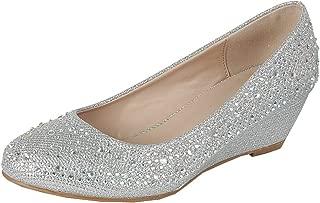 Women's Closed Round Toe Crystal Rhinestone Glitter Low Wedge