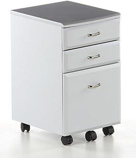 hjh OFFICE 673801 caisson à roulettes, caisson rangement mobile EKON argent, avec 3 tiroirs, petit espace, maxi effet, rés...