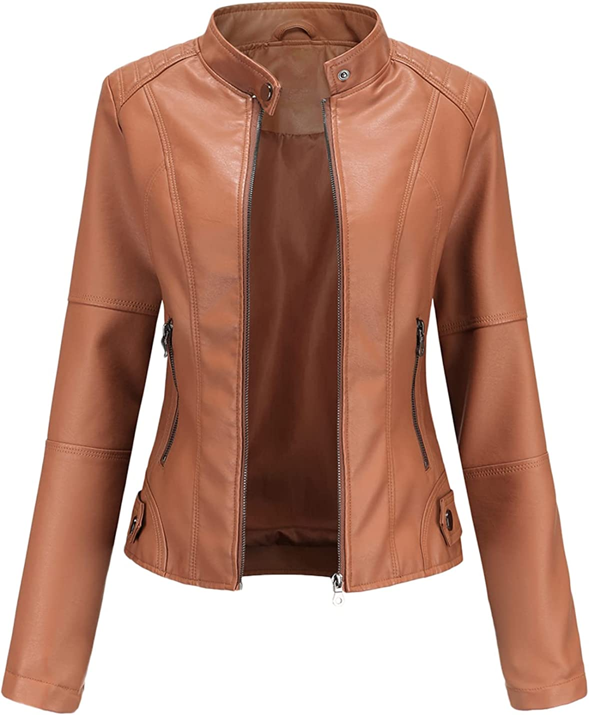 Peaceglad Womens Zip Up Steampunk Gothic Faux Leather Moto Biker Jackets Coat with Pockets