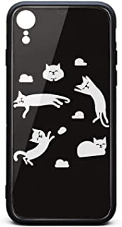 Cute Phone Case for iPhone XR Cat Clouds Sun Napping Cloud Funny Rubber Frame Tempered Glass Covers Designer Shock-Absorbing Skid-Proof Never Fade Mobile Cases Hippie Pretty
