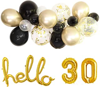 Hello 30 Black and Gold Balloon Cloud Kit - Balloon and Tassel Garland Kit/Black Latex Balloon Gold Confetti Balloon Arch/Photo Backdrop / 30th Birthday Party