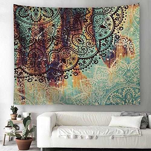 Mandala Indisch Orientalisch Hippie Bohemian Tapisserie murale Nappe de plage 230x150cm Grün 1