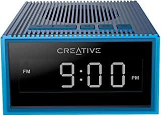 Creative 51MF8280AA002 Chrono Portable Splash-Proof Bluetooth Speaker with FM Radio, Alarm Clock, Micro Sd Slot - Blue (Pack of 1)