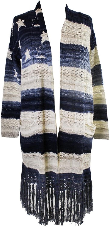 Denim Supply bluee Shawl Collar Fringe Long Cardigan S