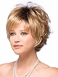 ELIM Short Wig Gold Curly Hair Wigs for Women Full Fluffy Synthetic Natural Looking Wigs with Wig Cap Z070