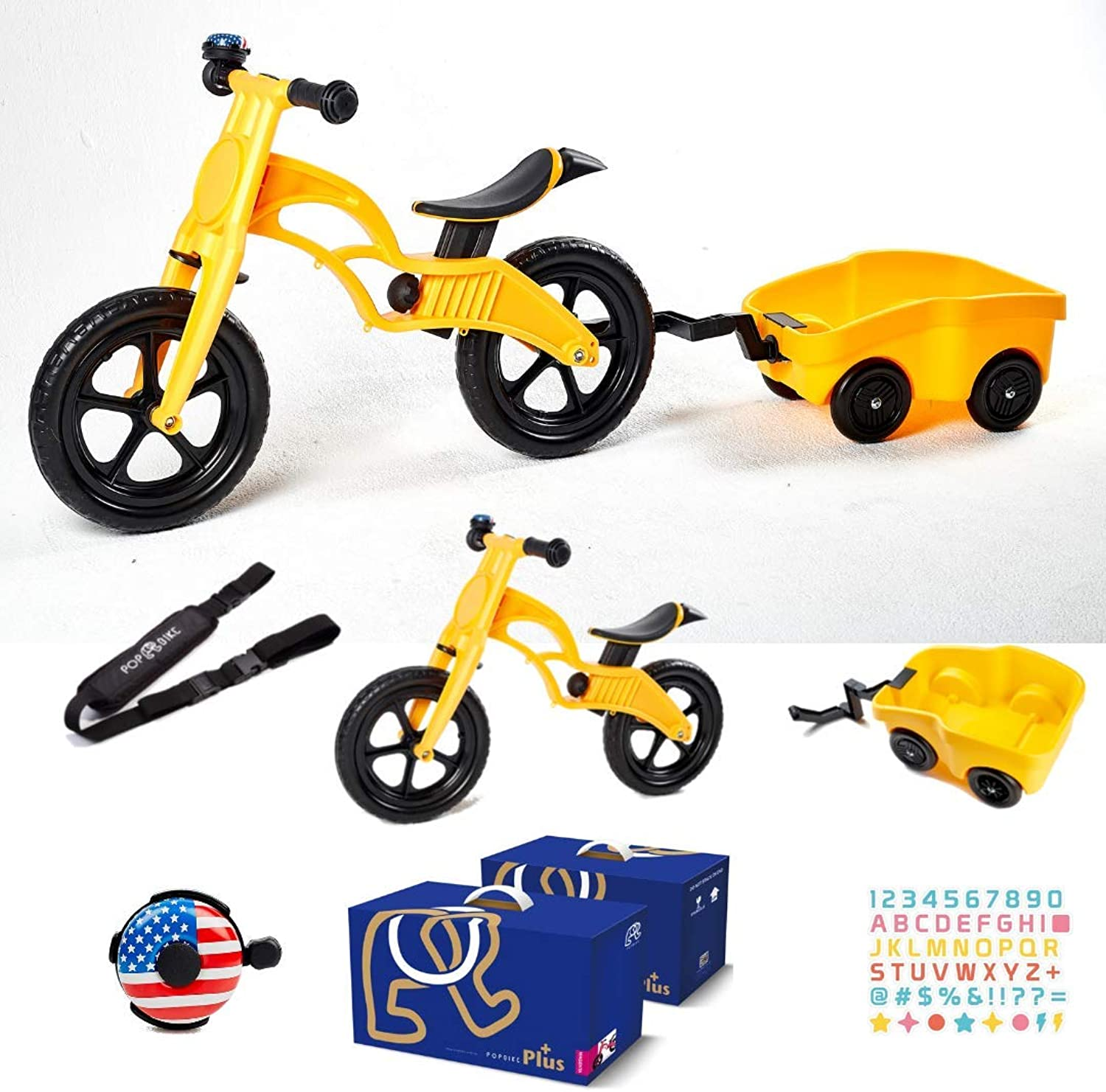 POPBIKE 2-in-1 Balance Bike with Trailer Wagon for Baby & Toddler. Use for Kids from 18M-5 Years Old. Great First no Pedal Glider Before Real Bicycle or Strider Sport. Free Bell, Sticker, Carry Strap