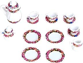 KINGQ 15pcs Doll House Miniature Porcelain Tea Set Dish,Cup,Plate Colorful Floral Print