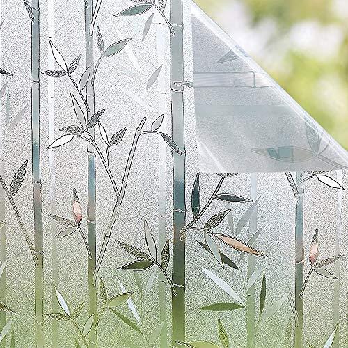 Shackcom Fensterfolie Selbsthaftend Blickdicht Sichtschutz Sichtschutzfolie 90x200CM Statisch Haftend Anti-UV Bambus Muster Dekorfolie für Bad Küche Büro Zuhause-J035