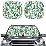 Caroiem Green Cactus 2pcs Car Front Window Cover, Universal Size Car Windshield Sun Shade Car Interior Protection Sun UV Rays Window Sunshade Easy Install