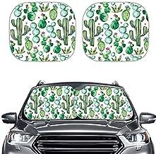 HUISEFOR Green Cactus Printed Fashion Car Truck SUV 2 Piece Window Sunshade Summer UV Protector Front Windows Sun Visor,Outdoor Travel Portable Shades