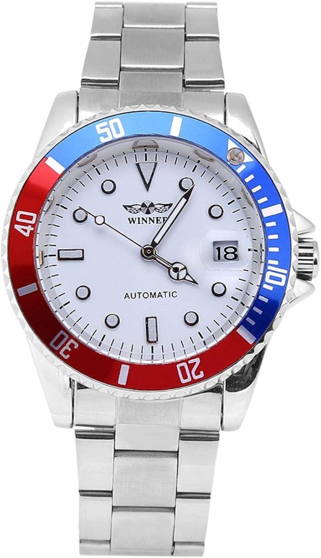 DAUERHAFT Reloj mecánico automático Masculino de 3 Colores, con Pantalla de 12 Horas, Reloj de Pulsera con Banda de Acero Inoxidable, para Diversos atuendos y Ocasiones(Rojo Azul y Blanco)