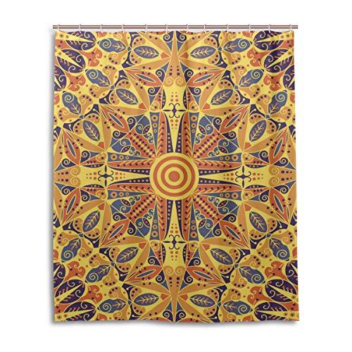 JSTEL Decor Duschvorhang mit Buntem Ethno-Muster, Bedruckt, 100prozent Polyester, 152,4 x 182,9 cm, für Zuhause, Badezimmer, Dekorative Duschvorhänge