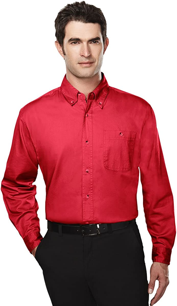 Tri-Mountain Big and Tall 6 oz. Cotton Long Sleeve Twill Shirt Red