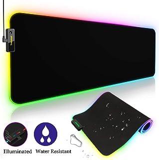 Tronsmart RGB Alfombrilla de Ratón Gaming Spire-XXL (800 x 300 x 4.0mm),10 Modos Efectos de Luces,Superficie Texturizada Suave y Cómoda con Base de Goma Antideslizante para Gamers,PC y Portátil