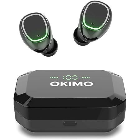 型 Bluetooth イヤホン OKIMO ワイヤレスイヤホン Bluetooth 5.1 ブルートゥース イヤホン Hi-Fi 完全ワイヤレス イヤホン 【3500mAh / IPX7防水規格 / Siri対応/AAC対応/マイク内蔵/適合確認済み】 ウェブ会議 (iPhone Android 対応) (black)