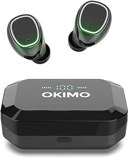 【LEDディスプレイ Bluetooth イヤホン】 OKIMO ワイヤレスイヤホン Bluetooth 5.0 ブルートゥース イヤホン Hi-Fi 高音質 完全ワイヤレス イヤホン 【3500mAh / IPX7防水規格 / Siri対応/AAC対応/マイク内蔵/PSE認証済】 (iPhone Android 対応) (black)
