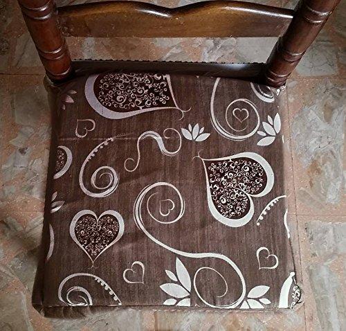 N.6 cuscini coprisedia quadrati universali sfoderabili con zip shabby chic cuori e fiori marrone