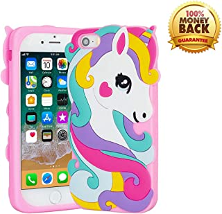 YINTRADE Case for iPhone 5 5S SE, Soft Rubber Silicone 3D Cute Cartoon Pink Unicorn Horse Animal Pattern Shockproof Drop Protection Durable Bumper Case Cover for Kids Girls Teens Ladies