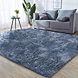 CHUANGYI 5.3x7.5 Feet Modern Large Plush Furry Cozy Soft Bedroom Area Rugs Thicker Fluffy Shag Blue-Gray Carpets, for Living Room