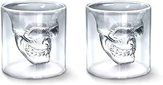 Shellme スカル頭骨ワイングラス ガラスマグカップ クリスタルドクロジョッキ 二重グラス クリア ジュースカップ おしゃれ 耐熱ガラス プレゼント 耐高温 無地 透明 個性 バー