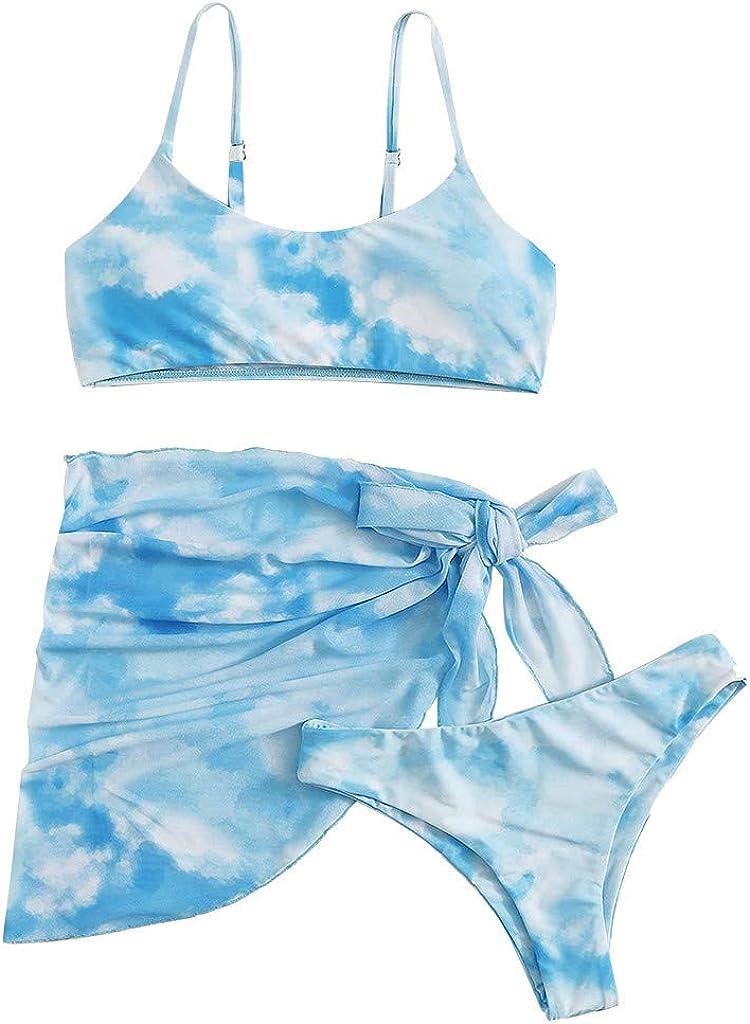 Women's Three Phoenix Mall Piece Finally resale start Little Tank Top with Dye Swimsuits Tie Print