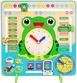 ALISSA Multi functional Calendar Wooden Clock, Kids Educational Toy Gift for Kids