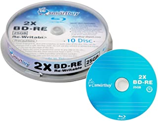 10 Pack Smartbuy 2X 25GB Blue Blu-ray BD-RE Rewritable Logo Blank Bluray Disc