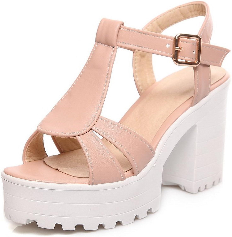 AdeeSu Womens Square Heels Chunky Heels Buckle Urethane Sandals SLC03342