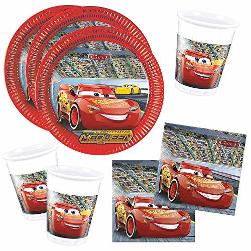Cars Set de Vaisselle Jetable Race | Disney Assiettes Tasses Serviettes