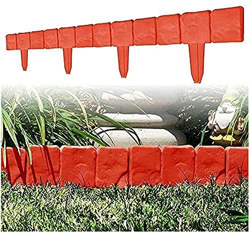 ZKDT Rasenkanten Palisade,DIY Steinoptik Gartenpalisade Beeteinfassung,Grau und Orange Garten Rasen Zierzaun,Rasenkantensteine Kunststoff für Rasens Pflanzendekoration (10 Stück, rot)