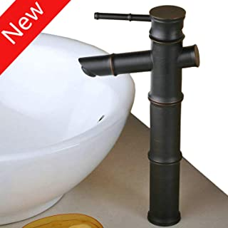 Tall Single Lever Oil Rubbed Bronze Bamboo Bathroom Sink Basin Mixer Tap,12inch