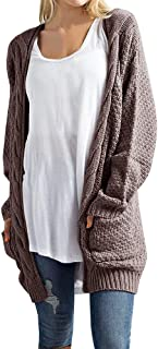 Soulomelody Womens Boho Cardigan Sweaters Chunky Cable Knit Open Front Long Sleeve Pointelle Fall Loose Outwear