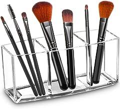 Tasybox Clear Makeup Brush Holder Organizer, 3 Slot Acrylic Cosmetic Brushes Storage, Eyeliners Eyebrow Pencil Display Case