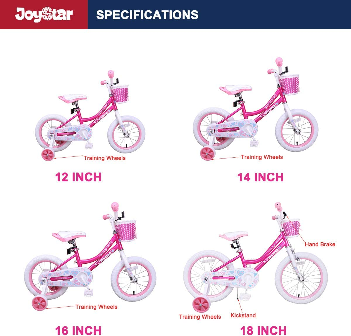 JOYSTAR Angel Girls Bike 12 14 16 18 Inch Kids Bike with Training Wheels for 2-9 Years Old Fuchsia Purple Toddler Bicycle Blue 18 Inch Kids Bike with Kickstand