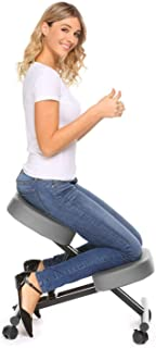 HFM Silla ergonómica de Rodillas, Taburete Ajustable para la Rodilla, para una Postura Saludable de la Espalda y Vertical - para el hogar/Oficina/meditación con Cojines Gruesos y cómodos,Gris