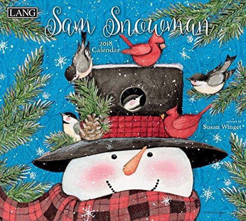 """Lang 18991001939LANG - 2018 Wall Calendar -""""Sam Snowman"""", Artwork by Susan Winget - 12 Month - Open 13 3/8"""" X 24"""""""