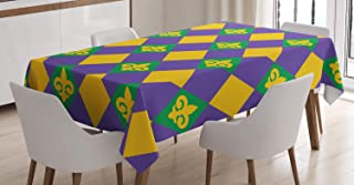 Ambesonne New Orleans Tablecloth, Mardi Gras Themed Rhombuses with Fleur De Lis Motifs Classic Geometry, Dining Room Kitchen Rectangular Table Cover, 60