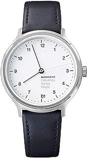 Mondaine - Helvetica Regular- Reloj de Cuero Negro para Hombre y Mujer, MH1.R1210.LB, 33 MM