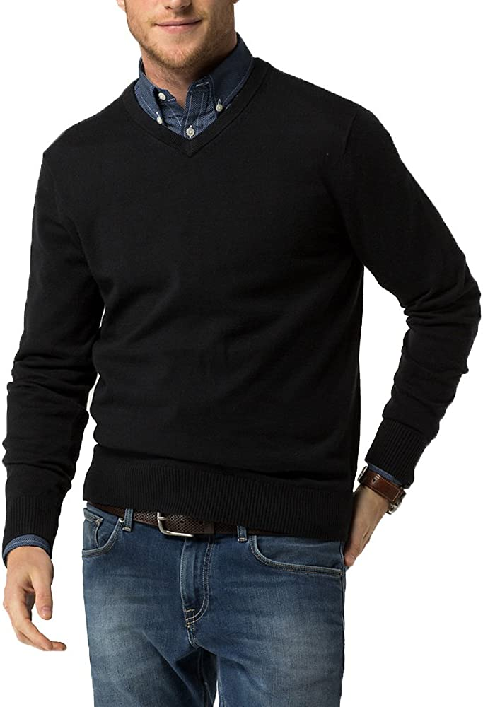 Just No Logo Men's Wool Sweater V-Neck Pullover Sweater Pullover