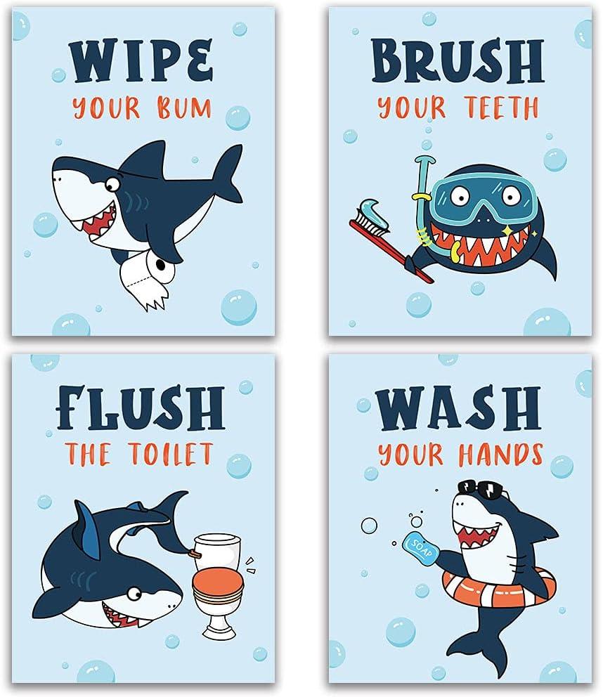 "Funny Shark Bathroom Decor, Novelty Sea Critters Bathroom Rules Wall Art for Kids, Girls Boys, Shark Lover, Nursery, Wash Brush Flush Wall Art Prints, 4set 8""X10"" Unframed"