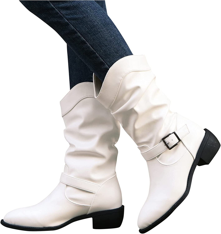 Portland [Alternative dealer] Mall Hunauoo Boots for Women Retro Square Middle Tu Buckle Heel