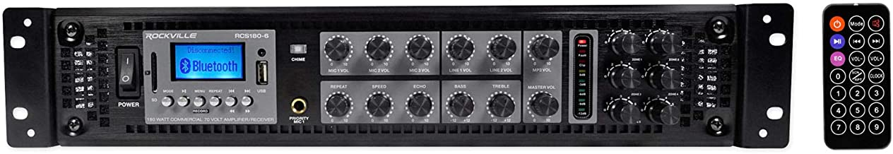 Rockville RCS180-6 180 Watt 6 Zone 70V Commercial/Restaurant Amplifier/Bluetooth