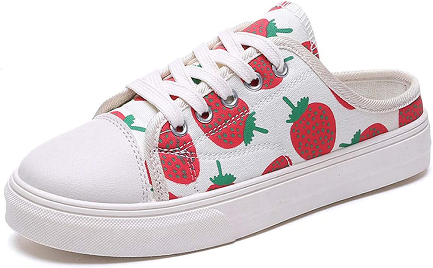 SUNNY Store Womens Cute Strawberry Grils Spring Canvas Trainers Flat Sneakers Loafers shoes
