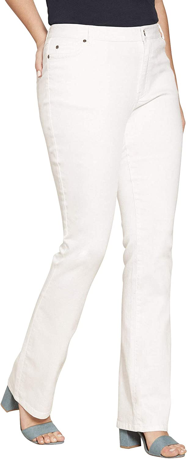 Roamans Women's National products Plus Size Bootcut Invisible with Memphis Mall Jean Stretch
