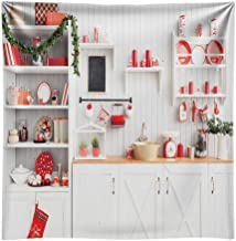 Funnytree 8X8ft Christmas Modern Kitchen Photography Backdrop Retro Wood Wall Cook Background Indoor Photobooth Decorations Photo Studio Newborn Baby Portrait Props