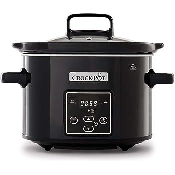 Crock-Pot Duraceramic CSC026X Olla de cocción lenta digital, recipiente compatible con fuego e inducción, 5 litros, Acero Inoxidable, Blanco: Amazon.es: Hogar
