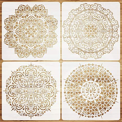 VETPW 4 Piezas Grande Plantillas de Mandala Plantillas de Dibujo DIY, Plantillas de Pintura Reutilizables, Set de Plantillas para Suelos, Ventana, Muebles, Madera, Diseño de Paredes, 30x30CM