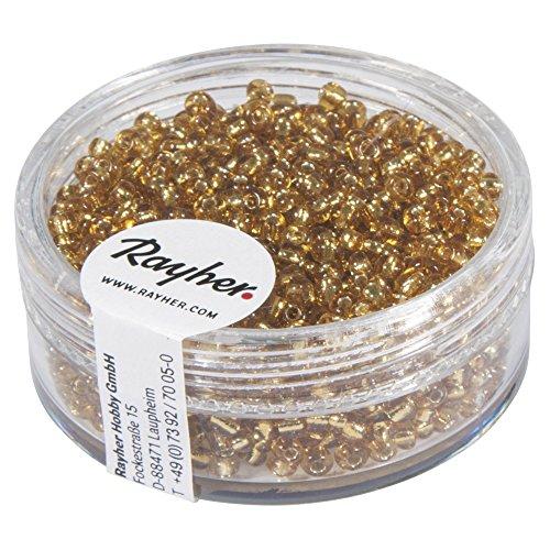 Rayher 1406406 Rocailles, 2 mm ø, mit Silbereinzug, gold