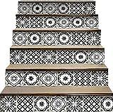 Mi Alma Calcomanías para azulejos de pelar y pegar, para escaleras y azulejos, talavera mexicana, decoración del hogar, escaleras, 17,7 cm de ancho x 7 cm de largo (juego de 24) (Coco)