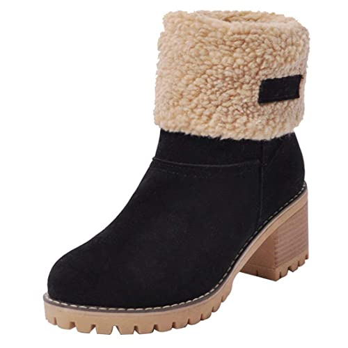 30706decfe Inornever Women s Winter Short Boots Round Toe Suede Chunky Low Heel Faux  Fur Warm Ankle Snow